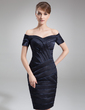 Sheath/Column Off-the-Shoulder Knee-Length Charmeuse Mother of the Bride Dress (008006335)