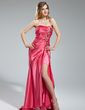 A-Line/Princess Sweetheart Asymmetrical Charmeuse Prom Dress With Ruffle Beading Split Front (018018882)