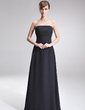 A-Line/Princess Strapless Floor-Length Chiffon Bridesmaid Dress With Ruffle (007001069)
