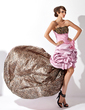 A-Line/Princess Strapless Asymmetrical Taffeta Prom Dress With Ruffle Beading Flower(s) (018021002)