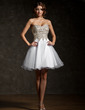 A-Line/Princess Sweetheart Short/Mini Tulle Sequined Homecoming Dress With Beading (022009104)