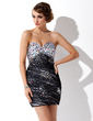 Sheath/Column Sweetheart Short/Mini Tulle Cocktail Dress With Ruffle Beading (016021196)