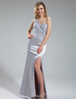 Sheath/Column One-Shoulder Floor-Length Charmeuse Prom Dress With Beading Sequins Split Front (018019155)