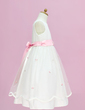 A-Line/Princess Floor-length Flower Girl Dress - Organza/Satin Sleeveless Scoop Neck With Sash/Flower(s)/Bow(s) (010005335)