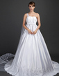 Ball-Gown One-Shoulder Watteau Train Satin Wedding Dress With Lace (002015375)