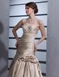 Princesový Bez ramínek Kostelní vlečka Satin Svatební šaty S Volán Nášivky (002001363)