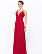 Sheath/Column V-neck Floor-Length Chiffon Evening Dress With Ruffle Beading Sequins (017056709)