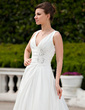 A-Line/Princess V-neck Court Train Taffeta Wedding Dress With Ruffle Beading (002001342)