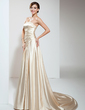 A-Line/Princess Strapless Court Train Charmeuse Wedding Dress With Ruffle Beading (002011708)