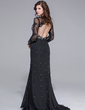 Trumpet/Mermaid Sweetheart Sweep Train Chiffon Tulle Evening Dress With Lace Beading (018025653)