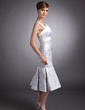 Trumpet/Mermaid Scalloped Neck Tea-Length Satin Mother of the Bride Dress (008006435)