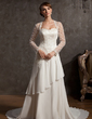 A-Line/Princess Sweetheart Chapel Train Chiffon Tulle Wedding Dress With Lace (002014901)