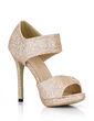 Sparkling Glitter Stiletto Heel Sandals Platform Peep Toe With Buckle shoes (085022636)