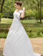 Ball-Gown Off-the-Shoulder Sweep Train Taffeta Wedding Dress With Ruffle Beading Bow(s) (002001435)