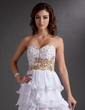A-Line/Princess Sweetheart Asymmetrical Chiffon Prom Dress With Beading Sequins Cascading Ruffles (018016758)
