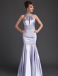 Trumpet/Mermaid Scoop Neck Sweep Train Charmeuse Evening Dress With Ruffle Beading Sequins (017002265)