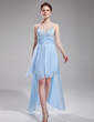 A-Line/Princess Sweetheart Asymmetrical Chiffon Homecoming Dress With Beading Cascading Ruffles (022010507)