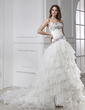 Ball-Gown Strapless Chapel Train Satin Organza Wedding Dress With Beading Cascading Ruffles (002015455)