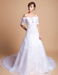 A-Line/Princess Off-the-Shoulder Cathedral Train Satin Organza Wedding Dress With Beading Appliques Lace (002011512)