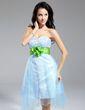 A-Line/Princess Sweetheart Knee-Length Tulle Homecoming Dress With Sash Beading (022014964)