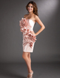 Sheath/Column Strapless Short/Mini Charmeuse Cocktail Dress With Ruffle Beading Flower(s) (016008320)