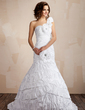 Trumpet/Mermaid One-Shoulder Sweep Train Taffeta Wedding Dress With Beading Flower(s) Pleated (002021814)