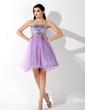 Yüksek Bel Kalp Kesimli Kısa/Mini Tulle Sequined Mezunlar Gecesi Elbisesi Ile Boncuklama (022008132)