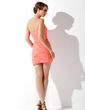 Sheath/Column Sweetheart Short/Mini Chiffon Homecoming Dress With Ruffle (022009228)