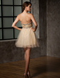 Empire Sweetheart Short/Mini Tulle Homecoming Dress With Ruffle Beading (022013925)