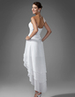 A-Line/Princess Sweetheart Asymmetrical Chiffon Homecoming Dress With Ruffle Beading (022003344)