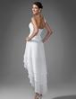 Forme Princesse Bustier en coeur Traîne asymétrique Mousseline Robe de soirée étudiante avec Plissé Emperler (022003344)