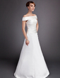 A-Line/Princess Off-the-Shoulder Floor-Length Satin Wedding Dress With Ruffle (002012569)