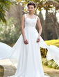 Empire Sweetheart Watteau Train Chiffon Satin Wedding Dress With Ruffle Beading Sequins (002011686)