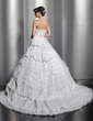 Ball-Gown Strapless Chapel Train Tulle Lace Wedding Dress With Beading Bow(s) Pleated (002014829)