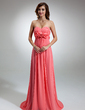 Empire Sweetheart Sweep Train Chiffon Evening Dress With Ruffle Flower(s) (017002563)