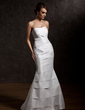 Trumpet/Mermaid Sweetheart Sweep Train Taffeta Wedding Dress With Ruffle (002012571)