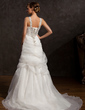 A-Line/Princess V-neck Court Train Organza Wedding Dress With Ruffle Beading (002015174)
