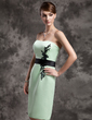 Sheath/Column Sweetheart Knee-Length Satin Mother of the Bride Dress With Lace Sash Beading Sequins (008015026)