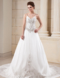 A-Line/Princess V-neck Chapel Train Taffeta Wedding Dress With Embroidered Beading (002000045)