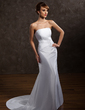 A-Line/Princess Strapless Court Train Taffeta Wedding Dress With Ruffle Lace Beading (002001687)