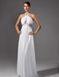 A-Line/Princess Scoop Neck Sweep Train Chiffon Prom Dress With Ruffle Beading (018002320)