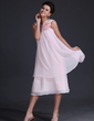 A-Line/Princess Scoop Neck Tea-Length Chiffon Bridesmaid Dress With Flower(s) (007017320)