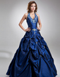 Ball-Gown Halter Floor-Length Taffeta Quinceanera Dress With Embroidered Beading (021004580)