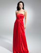 A-Line/Princess Strapless Sweep Train Charmeuse Evening Dress With Ruffle (017014938)
