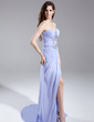 A-Line/Princess Sweetheart Sweep Train Chiffon Prom Dress With Ruffle Beading Split Front (018015903)