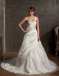 Ball-Gown One-Shoulder Cathedral Train Taffeta Wedding Dress With Beading (002014884)