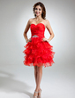 A-Line/Princess Sweetheart Knee-Length Organza Homecoming Dress With Beading Feather Cascading Ruffles (022021029)