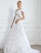 A-Line/Princess V-neck Court Train Lace Wedding Dress With Sash Crystal Brooch (002005313)