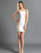 Sheath/Column Square Neckline Short/Mini Chiffon Cocktail Dress With Ruffle Beading (016019144)