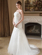 Trumpet/Mermaid Strapless Court Train Tulle Wedding Dress With Beading (002004148)